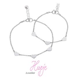zilveren moeder-dochter armbandjes (2 stuks) hartjes