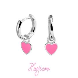 zilveren creolen roze hartje hanger