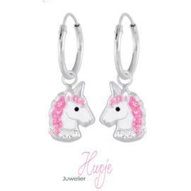 zilveren kinderoorbellen creolen sparkling unicorns