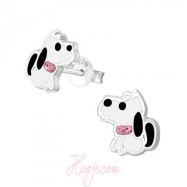 zilveren kinderoorbellen hondje halsband roze kristallen