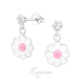 zilveren oorbellen bloem + Swarovski® kristal