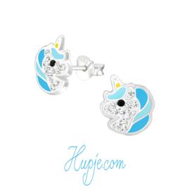 zilveren oorbellen eenhoorn Starlight blauw + kristallen