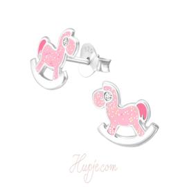 zilveren kinderoorbellen hobbelpaard roze glitter