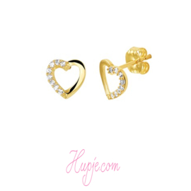 14 karaat gouden kinderoorbellen hart + Zirkonia rijzetting