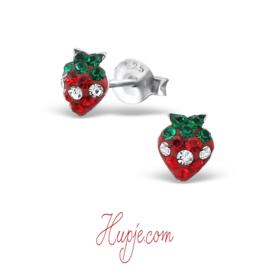 Silberne Kinderohrringe Erdbeere Kristalle