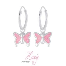 zilveren kinderoorbellen creolen vlinder glitter