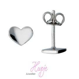 zilveren oorknopjes hart - zilver - gerodineerd