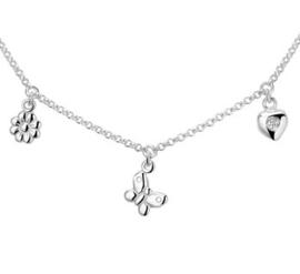 Silberne Kinderkette Blüte Schmetterling Herz