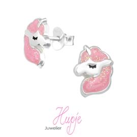 zilveren kinderoorbellen eenhoorn roze glitter manen