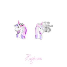 zilveren kinderoorbellen diva roze paars