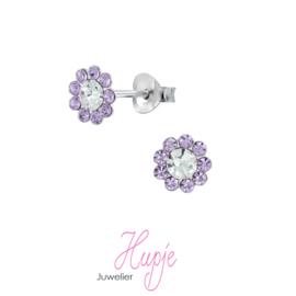 zilveren kinderoorbellen bloem paarse kristal