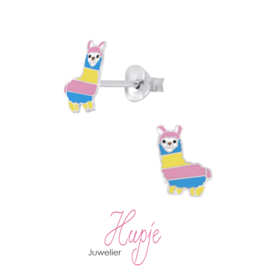 zilveren kinderoorbellen alpaca geel roze blauw