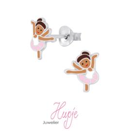 zilveren kinderoorknopjes ballerina roze tutu