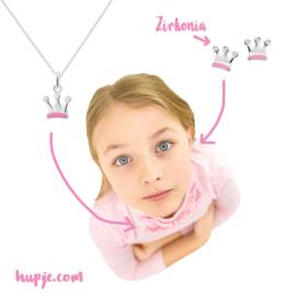 zilveren kinderketting roze kroontje + Zirkonia steentjes