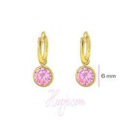zilveren creolen met gouden plating roze kristallen