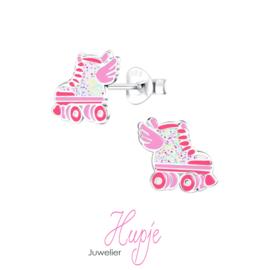 zilveren kinderoorbellen rollerskate Wings roze glitter