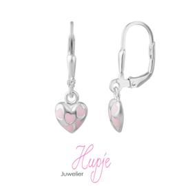 zilveren oorhangers roze hartje brisure sluiting