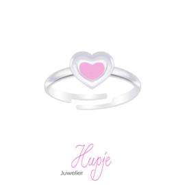 zilveren kinderring roze hartje