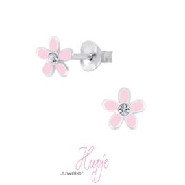 zilveren kinderoorbellen roze bloemetje + kristal
