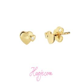 14 karaat gouden oorknopjes hartjes
