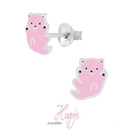 zilveren oorknopjes roze katje
