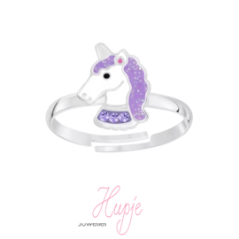 zilveren kinderring sparkling unicorn paars