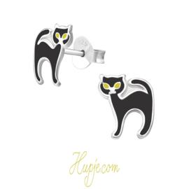 zilveren kinderoorbellen zwarte kat