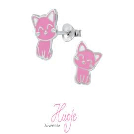 zilveren kinderoorbellen kat roze