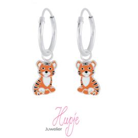 zilveren kinderoorbellen creolen tijger