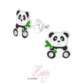 zilveren oorbellen panda met bamboe en kristallen