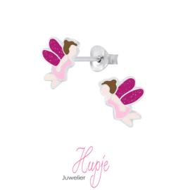 zilveren oorbellen elfje roze glitter vleugels