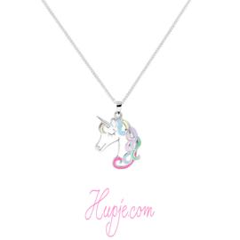 Silberne Kinderkette Einhorn Regenbogen  Mähne