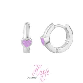 zilveren creolen lila hartje glitter