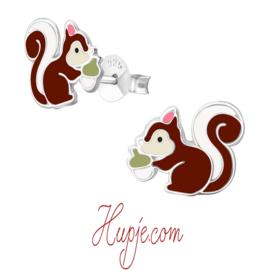 zilveren kinderoorbellen eekhoorn met eikeltje