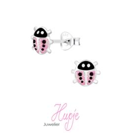 zilveren kinderoorbellen lieveheersbeestje roze glitter