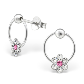 zilveren kinderoorbellen bloem kristal