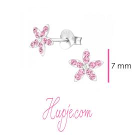 zilveren oorbellen Frozen zilver en roze kristal