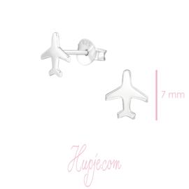 zilveren oorbellen vliegtuig