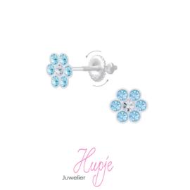 zilveren kinderoorbellen bloem blauwe kristallen (met schroefsluiting!)