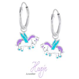 zilveren kinderoorbellen eenhoorn paars blauwe glitter vleugels