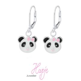 zilveren kinderoorbellen panda brisure roze strikje Premium