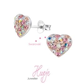 zilveren oorbellen hartjes Crystal love Swarovski kristallen