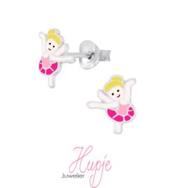 zilveren kinderoorbellen ballet / dans meisje roze
