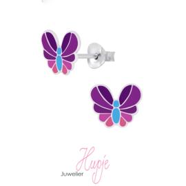zilveren oorknopjes vlinder roze paars blauw