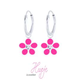 zilveren kinderoorbellen creolen roze bloem