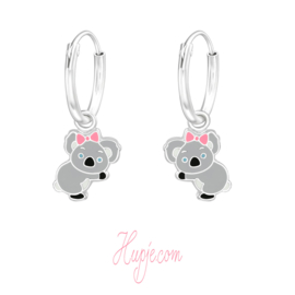 zilveren kinderoorbellen koala roze strikje