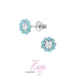 zilveren kinderoorbellen bloem blauwe kristal