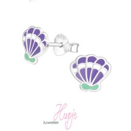 zilveren kinderoorbellen schelp paars mintgroen