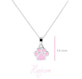 Silberne Kinderkette Hundepfoten rosa