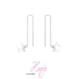 zilveren oorhangers Stars